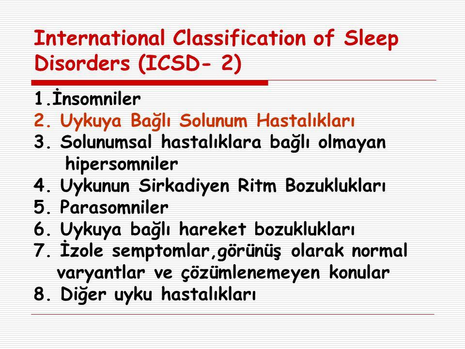 International Classification of Sleep Disorders (ICSD- 2) 1.İnsomniler 2. Uykuya Bağlı Solunum Hastalıkları 3. Solunumsal hastalıklara bağlı olmayan h