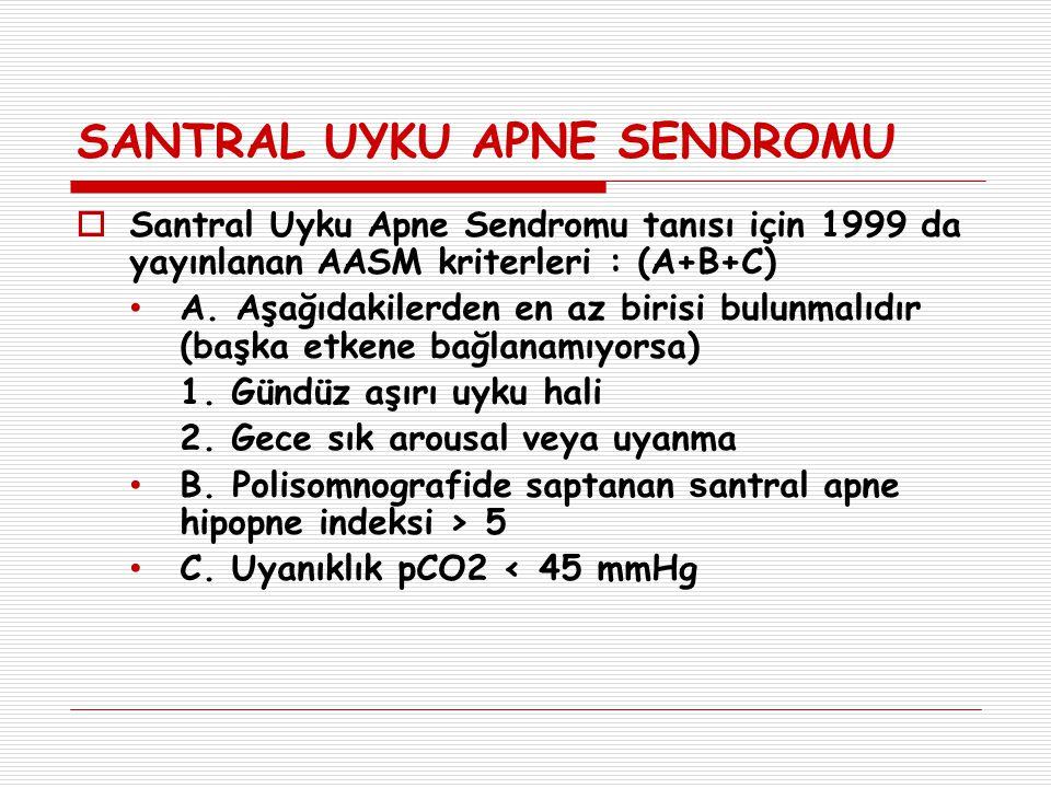 SANTRAL UYKU APNE SENDROMU  Santral Uyku Apne Sendromu tanısı için 1999 da yayınlanan AASM kriterleri : (A+B+C) A. Aşağıdakilerden en az birisi bulun