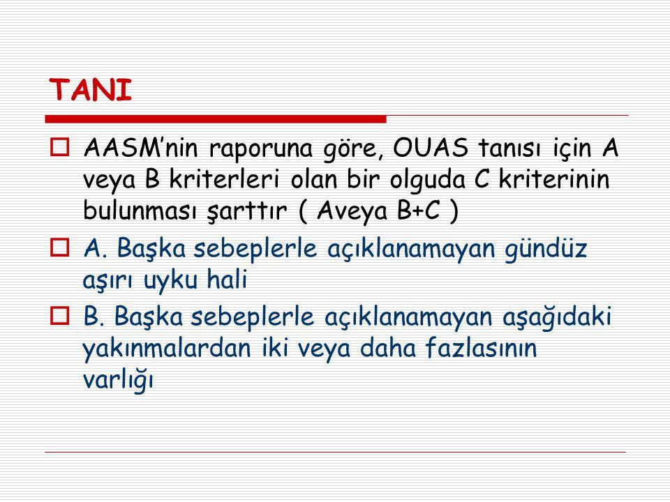 TANI  AASM'nin raporuna göre, OUAS tanısı için A veya B kriterleri olan bir olguda C kriterinin bulunması şarttır ( Aveya B+C )  A. Başka sebeplerle