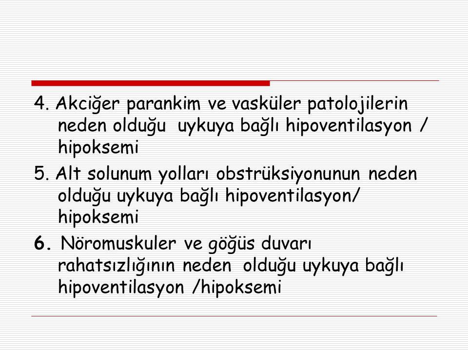 4. Akciğer parankim ve vasküler patolojilerin neden olduğu uykuya bağlı hipoventilasyon / hipoksemi 5. Alt solunum yolları obstrüksiyonunun neden oldu
