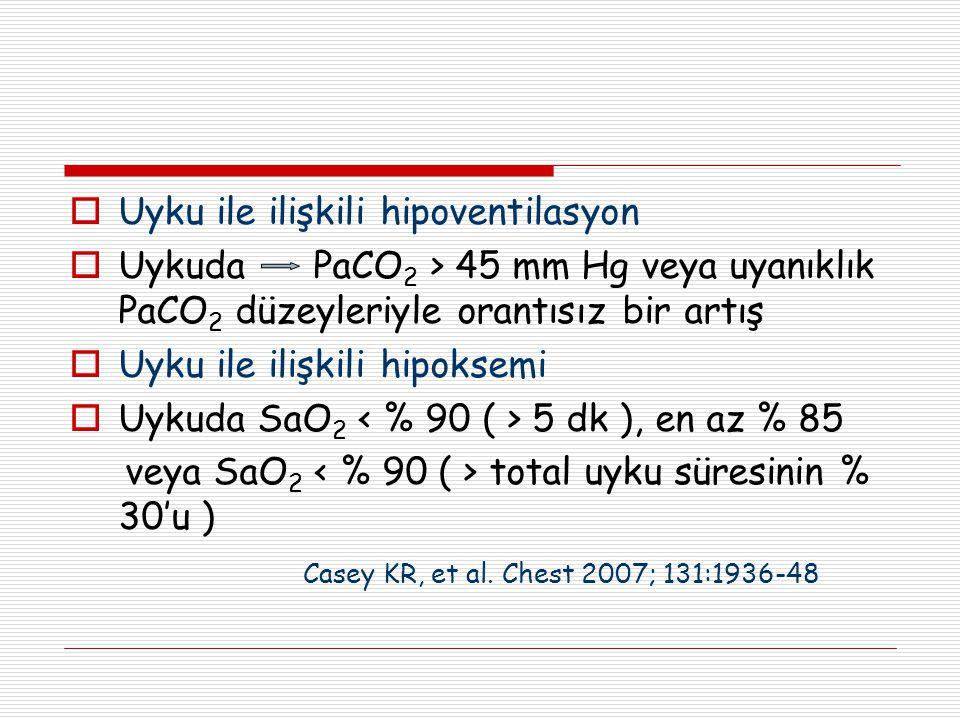  Uyku ile ilişkili hipoventilasyon  Uykuda PaCO 2 > 45 mm Hg veya uyanıklık PaCO 2 düzeyleriyle orantısız bir artış  Uyku ile ilişkili hipoksemi 