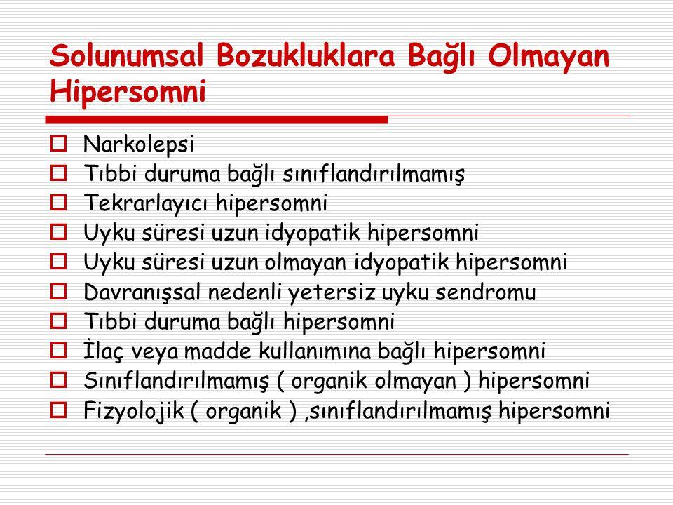 International Classification of Sleep Disorders (ICSD- 2)  Uykuya Bağlı Hipoventilasyon ve Hipoksemik Sendromlar 1.
