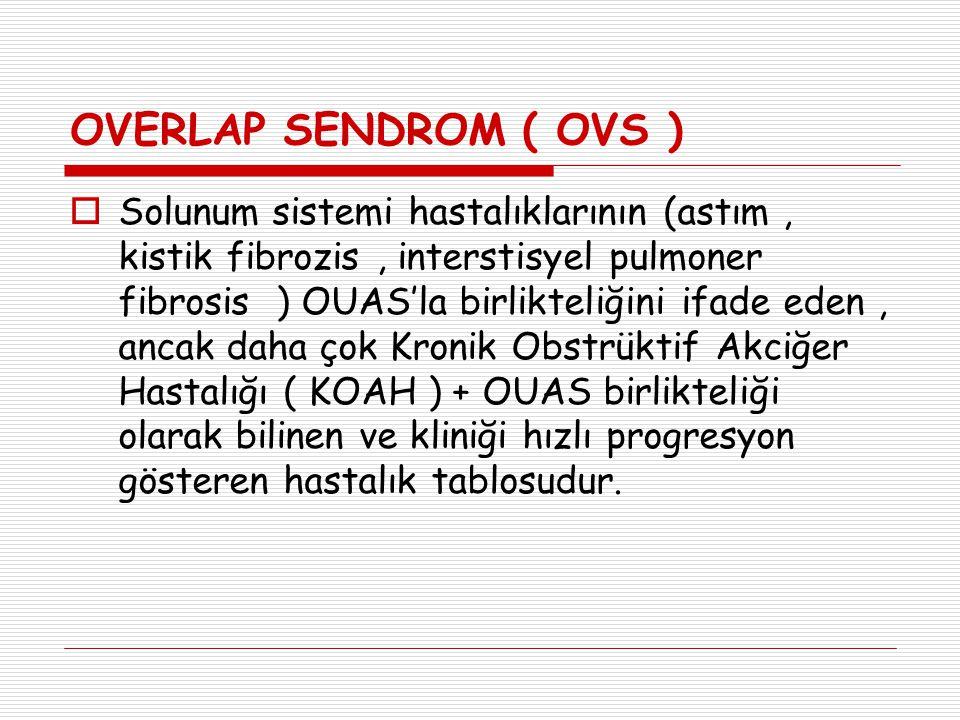OVERLAP SENDROM ( OVS )  Solunum sistemi hastalıklarının (astım, kistik fibrozis, interstisyel pulmoner fibrosis ) OUAS'la birlikteliğini ifade eden,