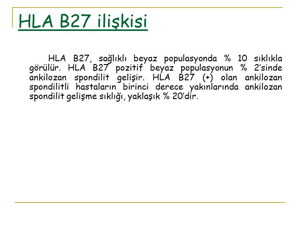 HLA B27 ilişkisi HLA B27, sağlıklı beyaz populasyonda % 10 sıklıkla görülür. HLA B27 pozitif beyaz populasyonun % 2'sinde ankilozan spondilit gelişir.