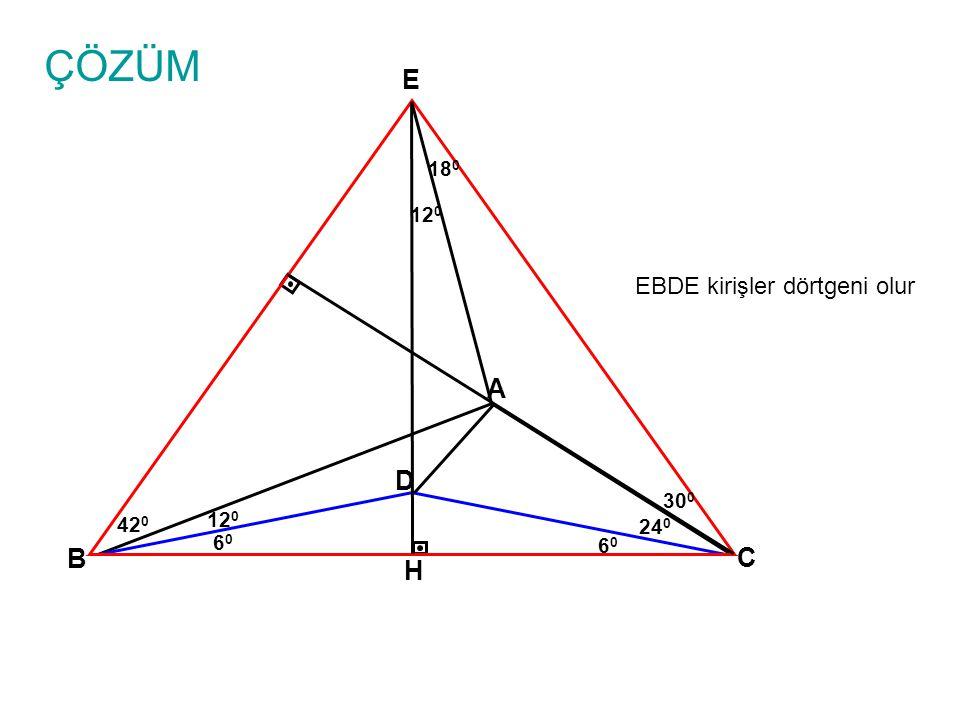 ÇÖZÜM A B C 24 0 D 6060 6060 12 0 30 0 E EBDE kirişler dörtgeni olur H 18 0 12 0 42 0
