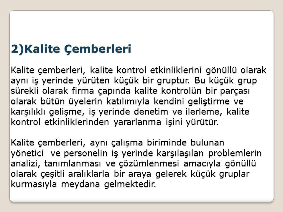 2)Kalite Çemberleri Kalite çemberleri, kalite kontrol etkinliklerini gönüllü olarak aynı iş yerinde yürüten küçük bir gruptur.