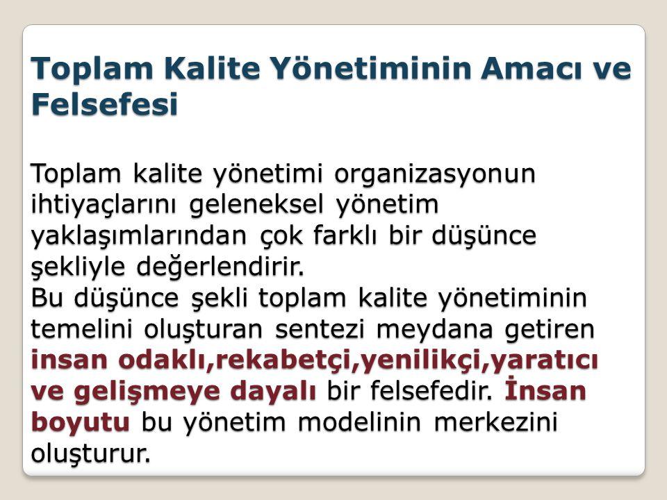Toplam Kalite Yönetiminin Amacı ve Felsefesi Toplam kalite yönetimi organizasyonun ihtiyaçlarını geleneksel yönetim yaklaşımlarından çok farklı bir düşünce şekliyle değerlendirir.