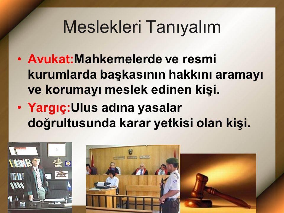 MESLEK REHBERİ Meslek çeşitleri Kasap Aşçı Marangoz Müzisyen Ressam Polis