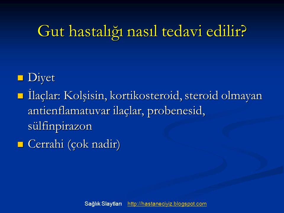 Gut hastalığı nasıl tedavi edilir? Diyet Diyet İlaçlar: Kolşisin, kortikosteroid, steroid olmayan antienflamatuvar ilaçlar, probenesid, sülfinpirazon