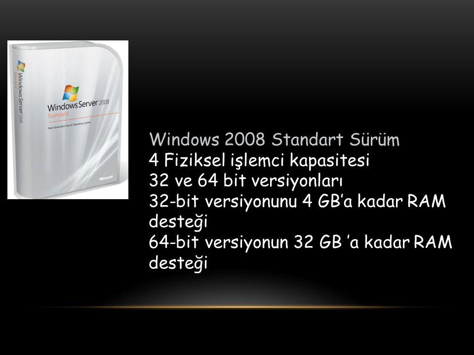 Windows 2008 Standart Sürüm 4 Fiziksel işlemci kapasitesi 32 ve 64 bit versiyonları 32-bit versiyonunu 4 GB'a kadar RAM desteği 64-bit versiyonun 32 GB 'a kadar RAM desteği