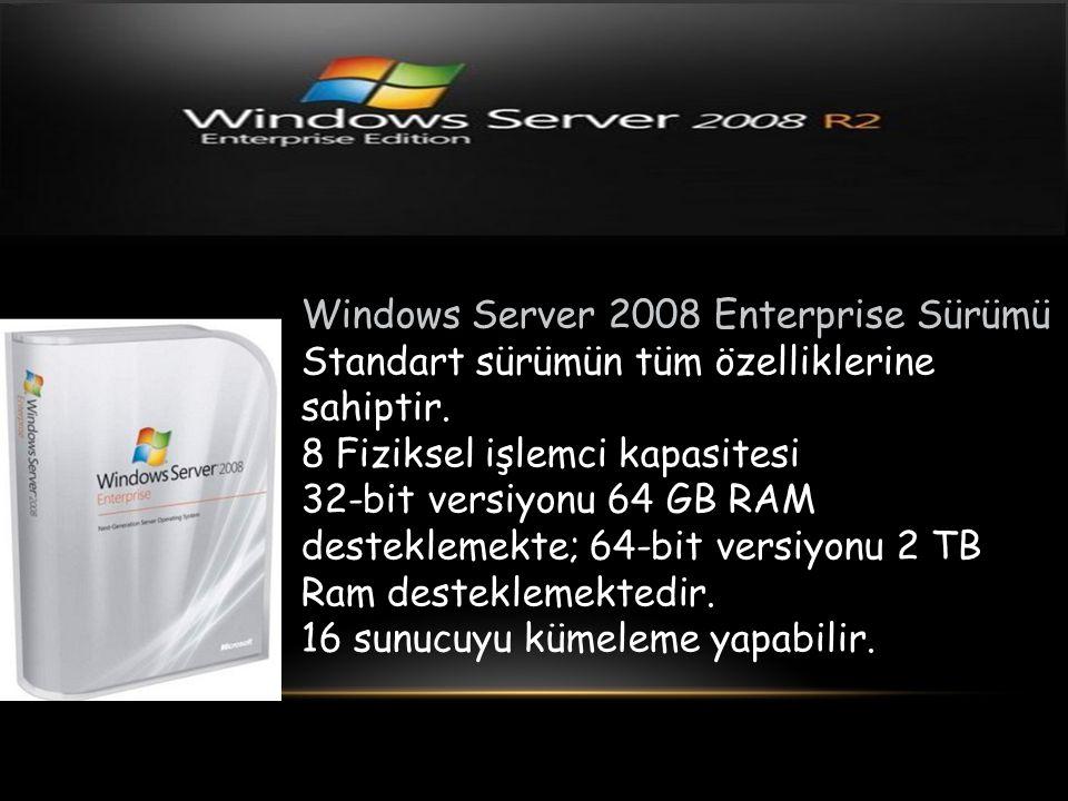 Windows Server 2008 Enterprise Sürümü Standart sürümün tüm özelliklerine sahiptir. 8 Fiziksel işlemci kapasitesi 32-bit versiyonu 64 GB RAM destekleme