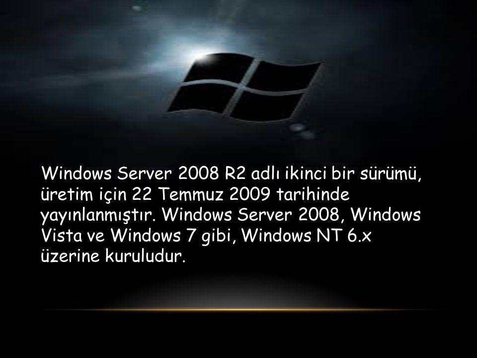 Windows Server 2008 R2 adlı ikinci bir sürümü, üretim için 22 Temmuz 2009 tarihinde yayınlanmıştır. Windows Server 2008, Windows Vista ve Windows 7 gi