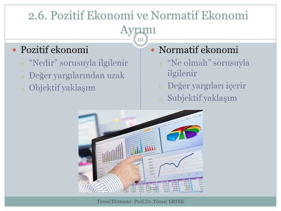 """2.6. Pozitif Ekonomi ve Normatif Ekonomi Ayrımı 10 Pozitif ekonomi o """"Nedir"""" sorusuyla ilgilenir o Değer yargılarından uzak o Objektif yaklaşım Normat"""