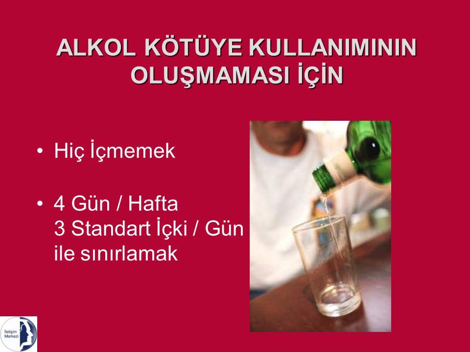 ALKOL KÖTÜYE KULLANIMININ OLUŞMAMASI İÇİN Hiç İçmemek 4 Gün / Hafta 3 Standart İçki / Gün ile sınırlamak