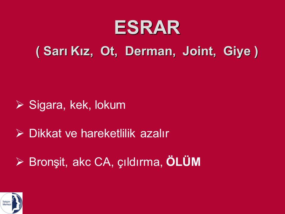 ESRAR ( Sarı Kız, Ot, Derman, Joint, Giye ) SSigara, kek, lokum DDikkat ve hareketlilik azalır BBronşit, akc CA, çıldırma, ÖLÜM