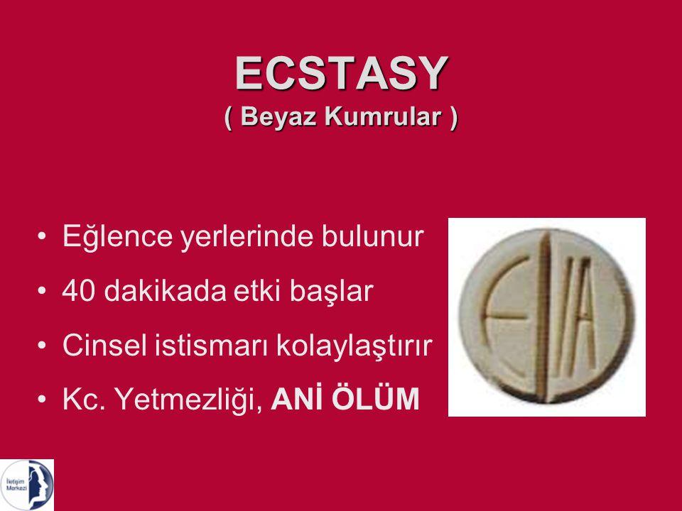 ECSTASY ( Beyaz Kumrular ) Eğlence yerlerinde bulunur 40 dakikada etki başlar Cinsel istismarı kolaylaştırır Kc.