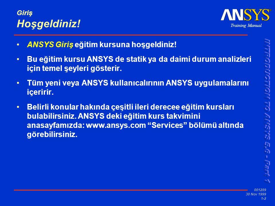 Training Manual 001289 30 Nov 1999 1-3 Giriş Kurs Amaçları Aşagıdaki alanlarda ANSYS temellerini öğretmek: ANSYS yapabileceği işlemler,temel ANSYS terminolojisi, ve ANSYS GUI Tam bir ANSYS analizinin nasıl gerçekleştiğini göstermek … temel basamakları içerir Katı modeller ve ağ oluşumunu yapımı veya import edilişi.