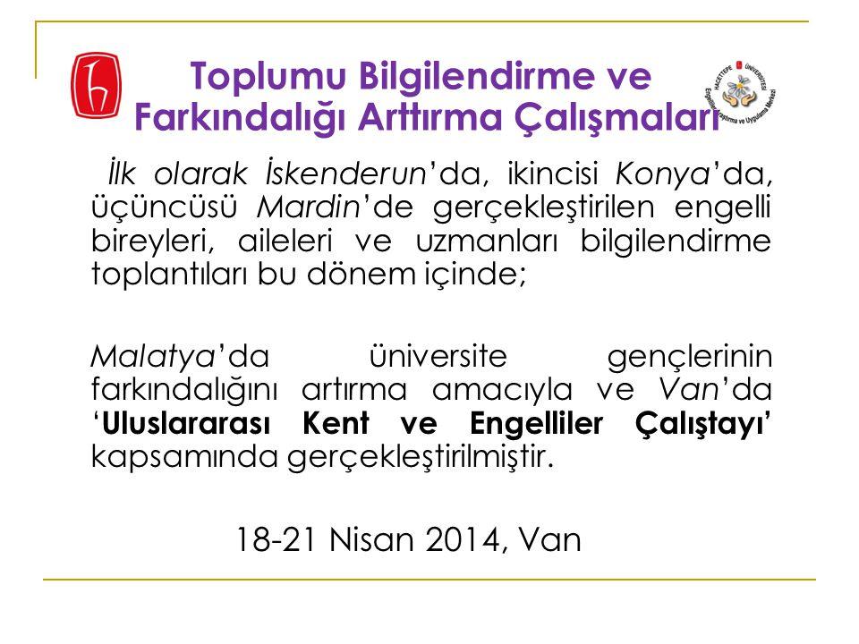 İlk olarak İskenderun'da, ikincisi Konya'da, üçüncüsü Mardin'de gerçekleştirilen engelli bireyleri, aileleri ve uzmanları bilgilendirme toplantıları bu dönem içinde; Malatya'da üniversite gençlerinin farkındalığını artırma amacıyla ve Van'da ' Uluslararası Kent ve Engelliler Çalıştayı' kapsamında gerçekleştirilmiştir.