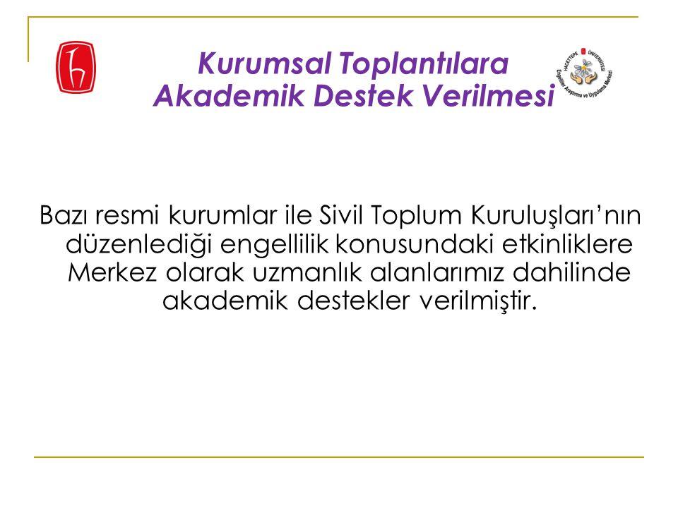 Bazı resmi kurumlar ile Sivil Toplum Kuruluşları'nın düzenlediği engellilik konusundaki etkinliklere Merkez olarak uzmanlık alanlarımız dahilinde akademik destekler verilmiştir.