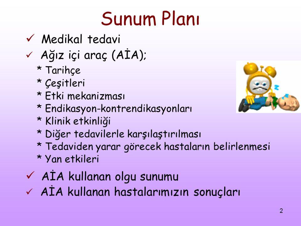 2 Sunum Planı Medikal tedavi Ağız içi araç (AİA); * Tarihçe * Çeşitleri * Etki mekanizması * Endikasyon-kontrendikasyonları * Klinik etkinliği * Diğer