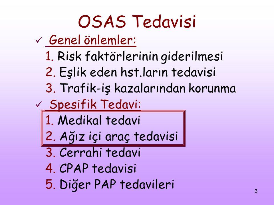 3 OSAS Tedavisi Genel önlemler: 1. Risk faktörlerinin giderilmesi 2. Eşlik eden hst.ların tedavisi 3. Trafik-iş kazalarından korunma Spesifik Tedavi: