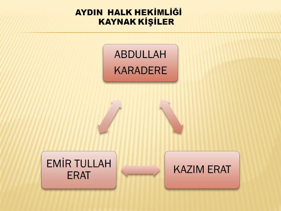 ABDULLAH KARADERE KAZIM ERAT EMİR TULLAH ERAT AYDIN HALK HEKİMLİĞİ KAYNAK KİŞİLER