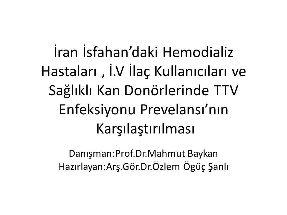 İran İsfahan'daki Hemodializ Hastaları, İ.V İlaç Kullanıcıları ve Sağlıklı Kan Donörlerinde TTV Enfeksiyonu Prevelansı'nın Karşılaştırılması Danışman:Prof.Dr.Mahmut Baykan Hazırlayan:Arş.Gör.Dr.Özlem Ögüç Şanlı