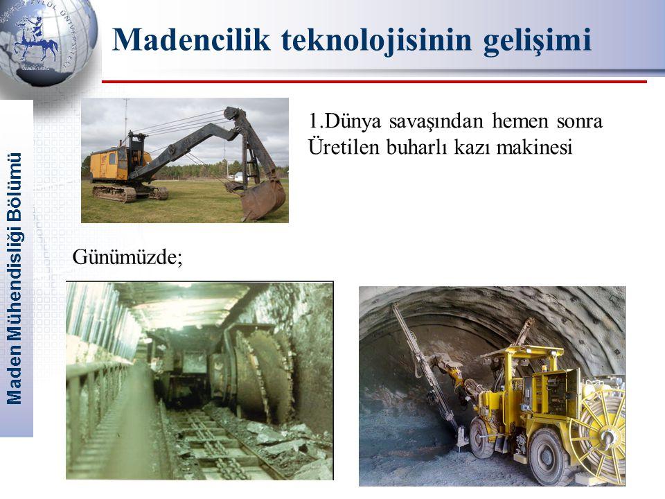 Maden Mühendisliği Bölümü 10 1.Dünya savaşından hemen sonra Üretilen buharlı kazı makinesi Günümüzde; Madencilik teknolojisinin gelişimi