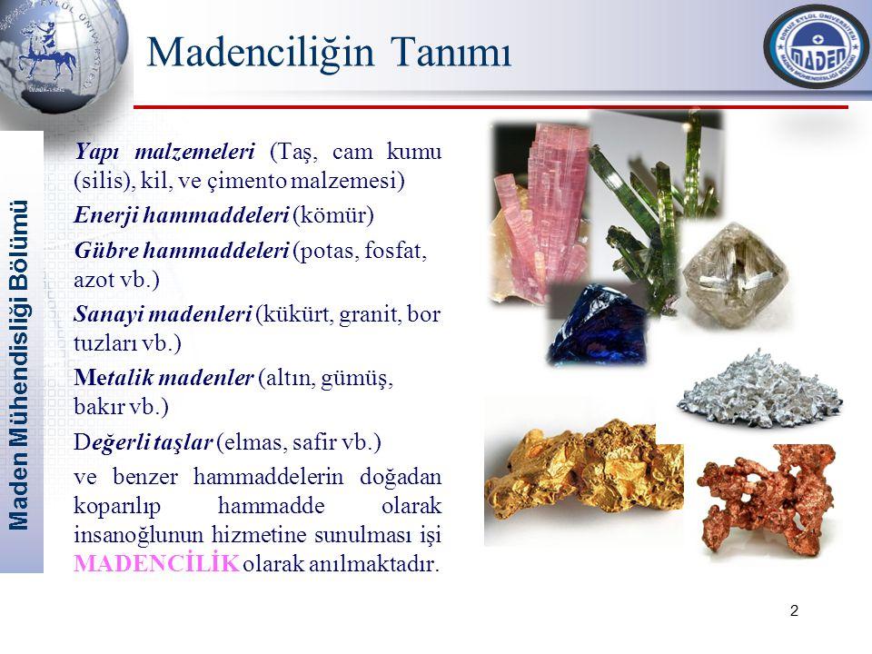 Maden Mühendisliği Bölümü Madenciliğin Tanımı Yapı malzemeleri (Taş, cam kumu (silis), kil, ve çimento malzemesi) Enerji hammaddeleri (kömür) Gübre hammaddeleri (potas, fosfat, azot vb.) Sanayi madenleri (kükürt, granit, bor tuzları vb.) Metalik madenler (altın, gümüş, bakır vb.) Değerli taşlar (elmas, safir vb.) ve benzer hammaddelerin doğadan koparılıp hammadde olarak insanoğlunun hizmetine sunulması işi MADENCİLİK olarak anılmaktadır.