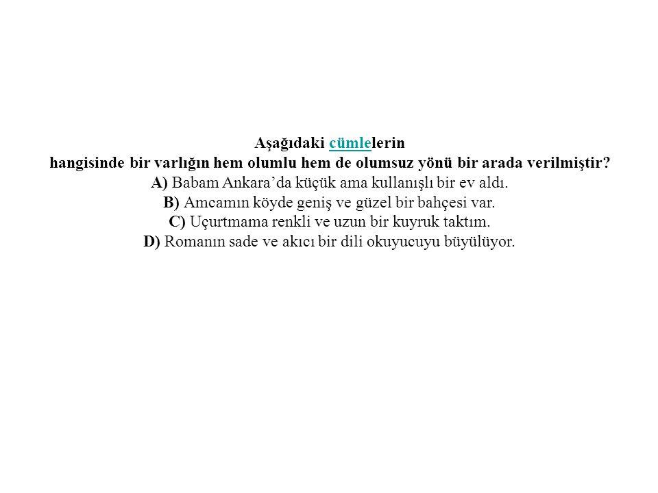 Aşağıdaki cümlelerincümle hangisinde bir varlığın hem olumlu hem de olumsuz yönü bir arada verilmiştir? A) Babam Ankara'da küçük ama kullanışlı bir ev