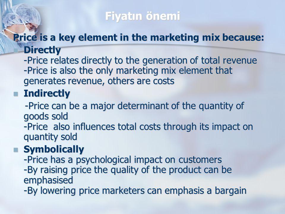 Fiyatlandırma sürecinde gözönünde tutulması gereken faktörler Mamulün üretim veya alım maliyeti Mamulün üretim veya alım maliyeti Mamule olan talep, Mamule olan talep, Rekabet durumu, Rekabet durumu, Hedef alınan Pazar payı, Hedef alınan Pazar payı, Pazarın kaymağını alma veya pazarın derinliğine girme stratejisi Pazarın kaymağını alma veya pazarın derinliğine girme stratejisi Pazarlama karmasının diğer unsurları Pazarlama karmasının diğer unsurları