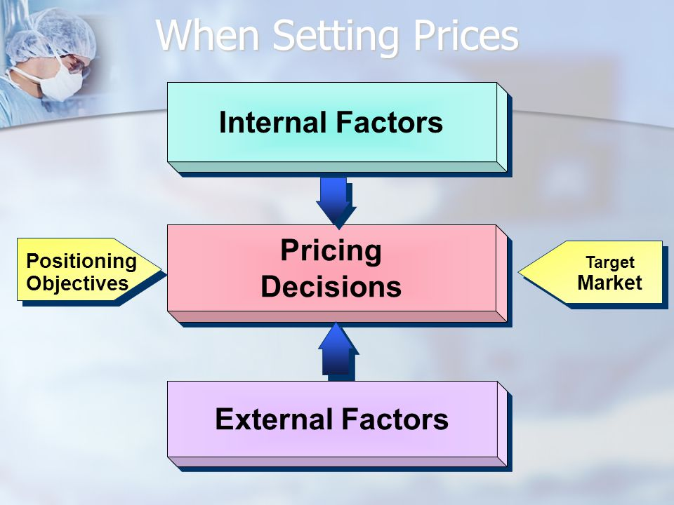 Internal Factors Pricing Decisions Pricing Decisions External Factors Target Market Positioning Objectives When Setting Prices