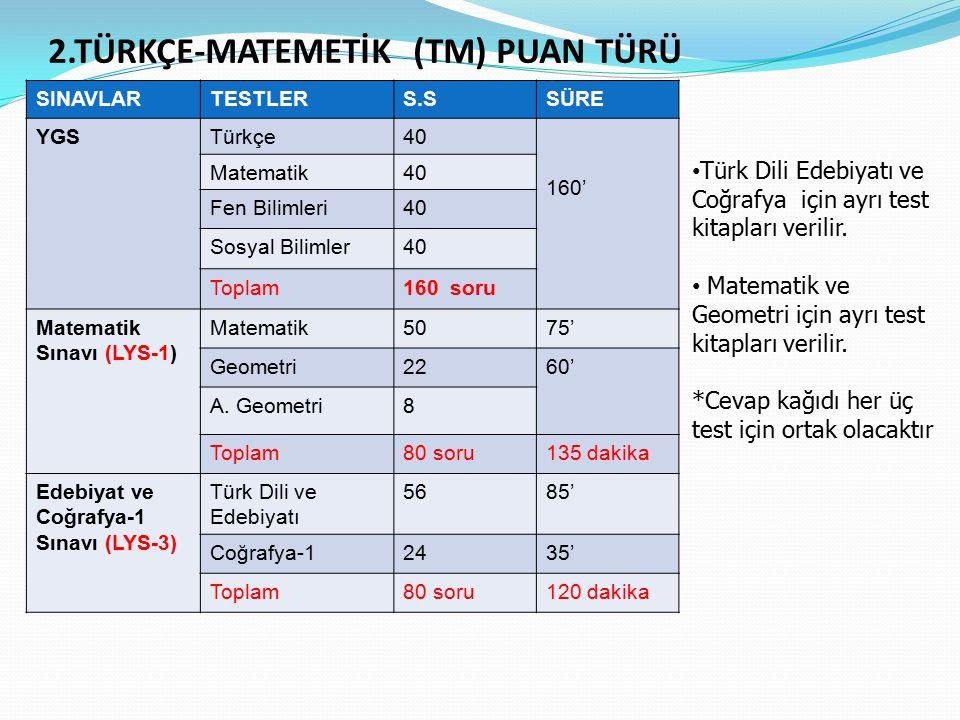 2.TÜRKÇE-MATEMETİK (TM) PUAN TÜRÜ SINAVLARTESTLERS.SSÜRE YGSTürkçe40 160' Matematik40 Fen Bilimleri40 Sosyal Bilimler40 Toplam160 soru Matematik Sınavı (LYS-1) Matematik5075' Geometri2260' A.