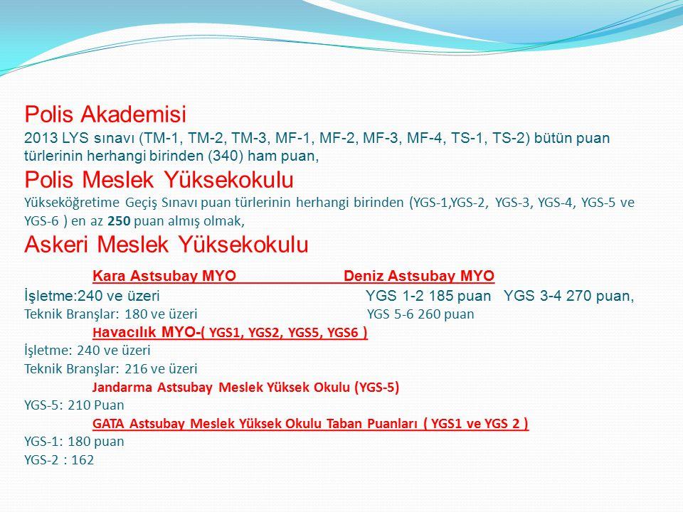 Polis Akademisi 2013 LYS sınavı (TM-1, TM-2, TM-3, MF-1, MF-2, MF-3, MF-4, TS-1, TS-2) bütün puan türlerinin herhangi birinden (340) ham puan, Polis Meslek Yüksekokulu Yükseköğretime Geçiş Sınavı puan türlerinin herhangi birinden (YGS-1,YGS-2, YGS-3, YGS-4, YGS-5 ve YGS-6 ) en az 250 puan almış olmak, Askeri Meslek Yüksekokulu Kara Astsubay MYO Deniz Astsubay MYO İşletme:240 ve üzeri YGS 1-2 185 puan YGS 3-4 270 puan, Teknik Branşlar: 180 ve üzeri YGS 5-6 260 puan H avacılık MYO- ( YGS1, YGS2, YGS5, YGS6 ) İşletme: 240 ve üzeri Teknik Branşlar: 216 ve üzeri Jandarma Astsubay Meslek Yüksek Okulu (YGS-5) YGS-5: 210 Puan GATA Astsubay Meslek Yüksek Okulu Taban Puanları ( YGS1 ve YGS 2 ) YGS-1: 180 puan YGS-2 : 162