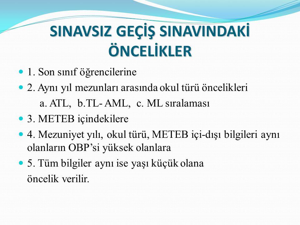 SINAVSIZ GEÇİŞ SINAVINDAKİ ÖNCELİKLER 1. Son sınıf öğrencilerine 2.