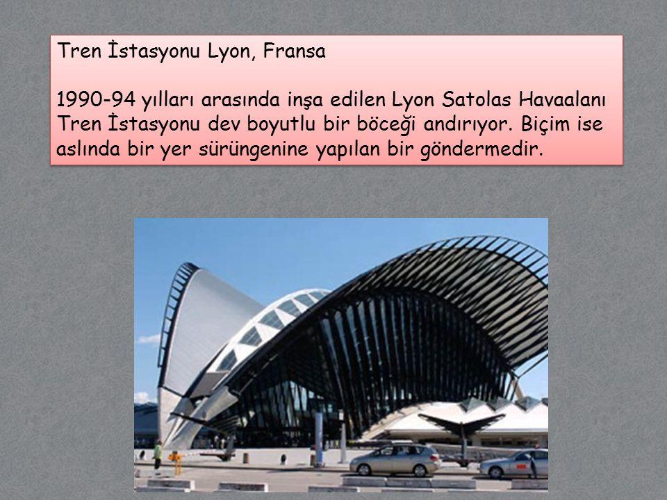 Tren İstasyonu Lyon, Fransa 1990-94 yılları arasında inşa edilen Lyon Satolas Havaalanı Tren İstasyonu dev boyutlu bir böceği andırıyor.