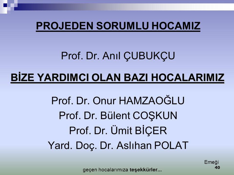 BİZE YARDIMCI OLAN BAZI HOCALARIMIZ PROJEDEN SORUMLU HOCAMIZ Prof. Dr. Anıl ÇUBUKÇU Prof. Dr. Onur HAMZAOĞLU Prof. Dr. Bülent COŞKUN Prof. Dr. Ümit Bİ