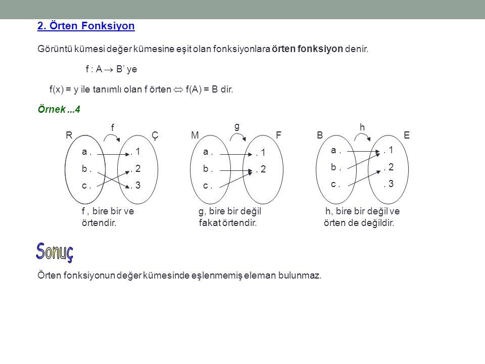 2. Örten Fonksiyon Görüntü kümesi değer kümesine eşit olan fonksiyonlara örten fonksiyon denir. f : A  B' ye f(x) = y ile tanımlı olan f örten  f(A)