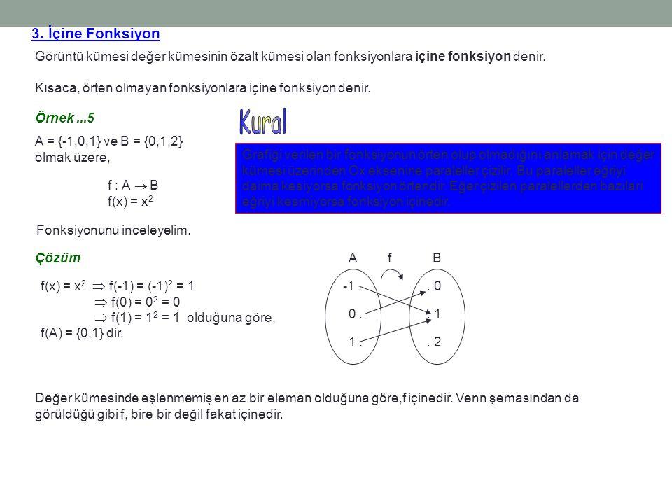 3. İçine Fonksiyon Görüntü kümesi değer kümesinin özalt kümesi olan fonksiyonlara içine fonksiyon denir. Kısaca, örten olmayan fonksiyonlara içine fon
