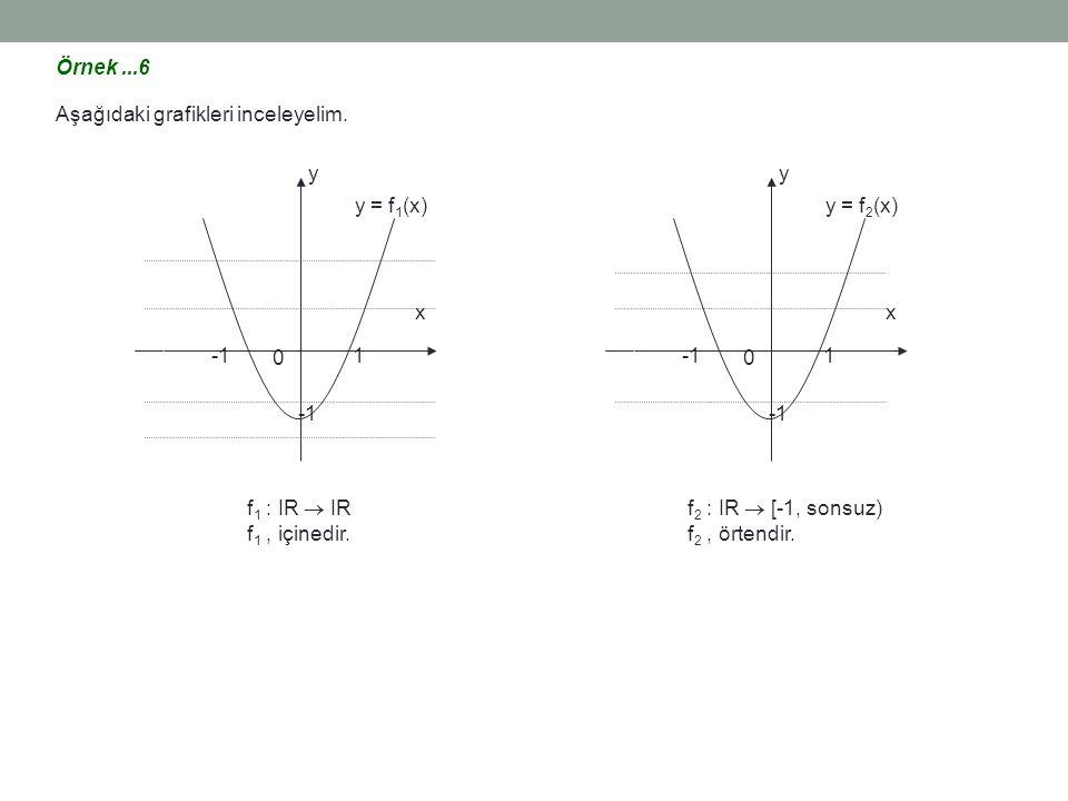 Örnek...6 Aşağıdaki grafikleri inceleyelim. 1 0 x y y = f 1 (x) f 1 : IR  IR f 1, içinedir. 1 0 x y y = f 2 (x) f 2 : IR  [-1, sonsuz) f 2, örtendir
