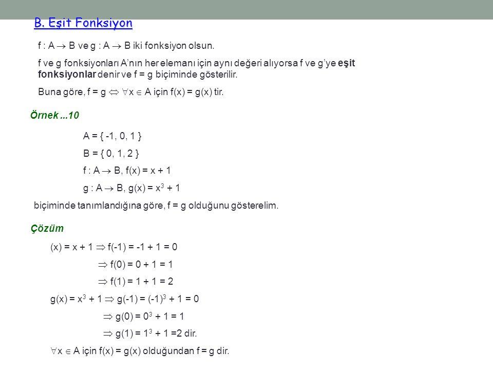 B. Eşit Fonksiyon B. Eşit Fonksiyon f : A  B ve g : A  B iki fonksiyon olsun. f ve g fonksiyonları A'nın her elemanı için aynı değeri alıyorsa f ve