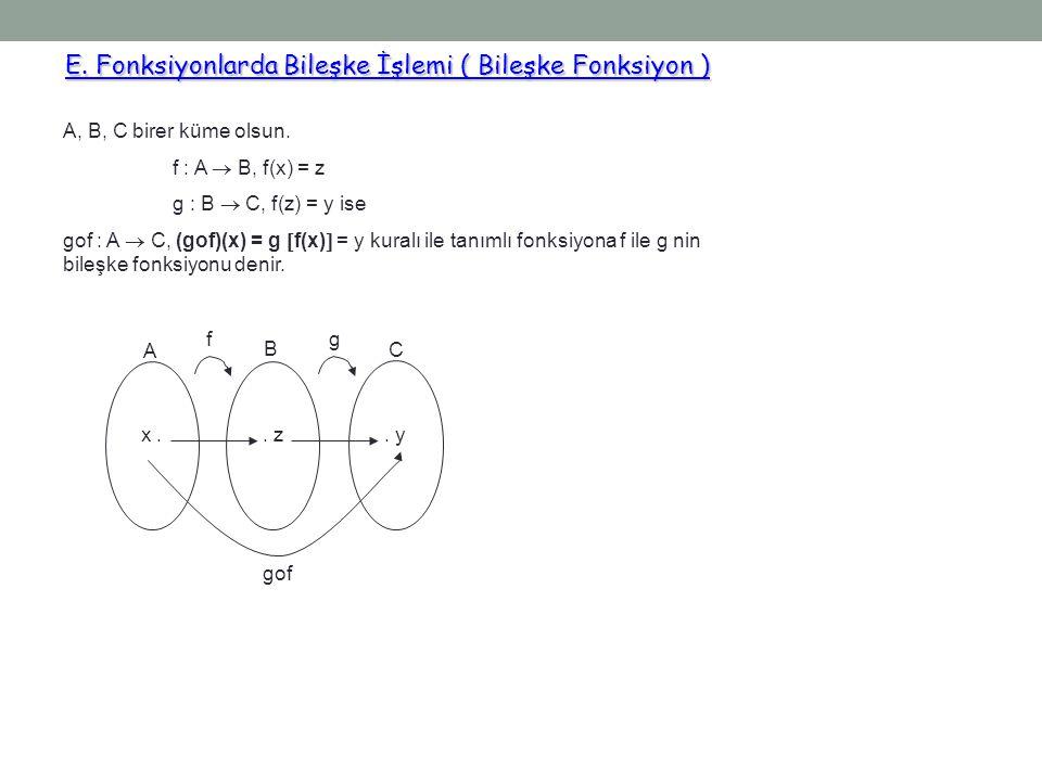 E. Fonksiyonlarda Bileşke İşlemi ( Bileşke Fonksiyon ) E. Fonksiyonlarda Bileşke İşlemi ( Bileşke Fonksiyon ) A, B, C birer küme olsun. f : A  B, f(x