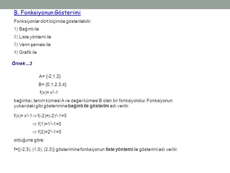 Örnek...3 A= {-2,1,2} B= {0,1,2,3,4} f(x)= x 2 -1 bağıntısı, tanım kümesi A ve değer kümesi B olan bir fonksiyondur. Fonksiyonun yukarıdaki gibi göste