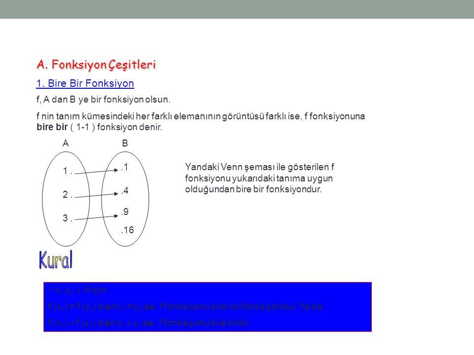 Örnek...13 f : A  B A = {a, b, c} B = {1, 2, 3} f 1 = {(a, 2), (b, 1), (c, 3)}  f 1 -1 = {(2, a), (1, b), (3, c)} f 2 = {(a, 1), (b, 1), (c, 1)}  f 2 -1 = {(1, a), (1, b), (1, c)} Burada f 1 in tersi olan f 1 -1 fonksiyondur.