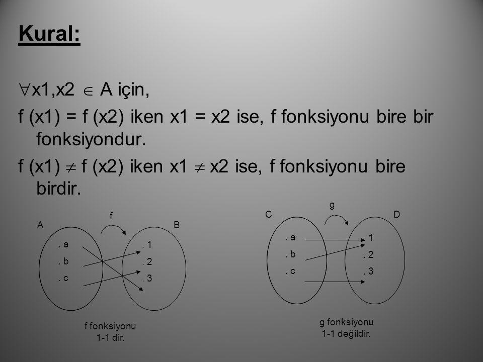 1. Bire Bir Fonksiyon: f, A dan B ye bir fonksiyon olsun.f nin tanım kümesindeki her farklı elemanının görüntüsü farklı ise, f fonksiyonuna bire bir (