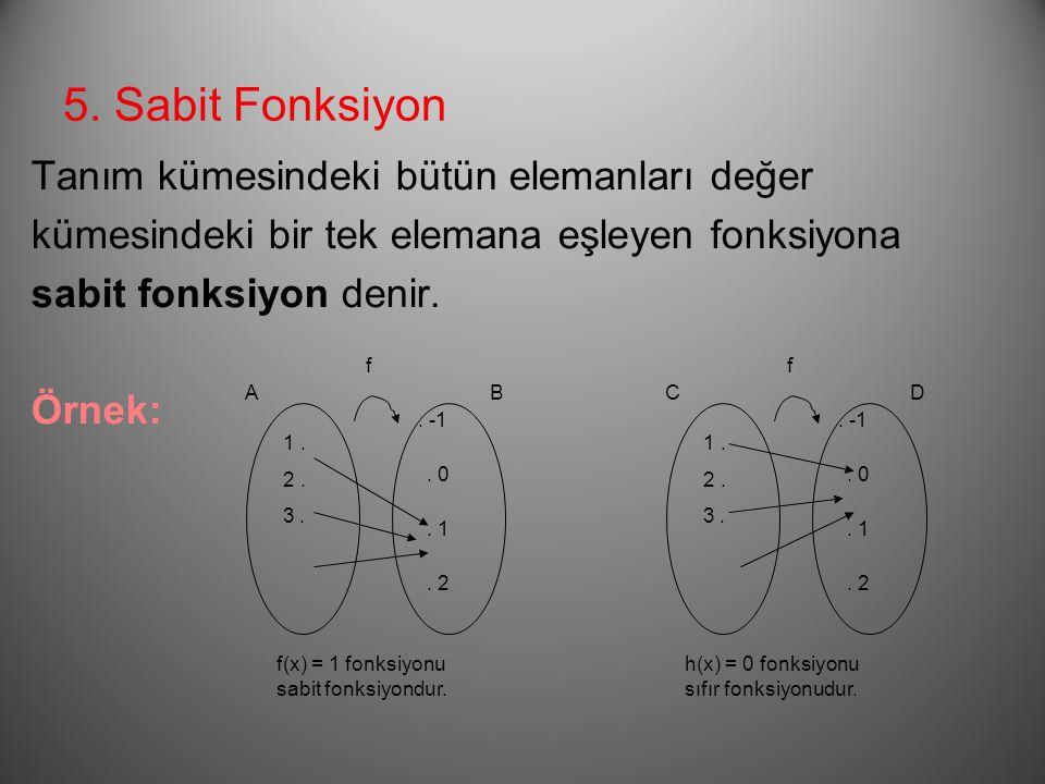4. Birim Fonksiyon Tanım kümesindeki her elemanın görüntüsü yine aynı ise bu tip fonksiyona birim fonksiyon denir ve  ile gösterilir. f AB a. b. c..