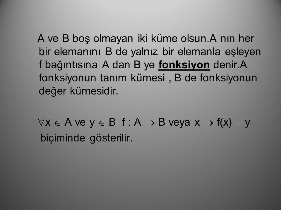 A ve B boş olmayan iki küme olsun.A nın her bir elemanını B de yalnız bir elemanla eşleyen f bağıntısına A dan B ye fonksiyon denir.A fonksiyonun tanım kümesi, B de fonksiyonun değer kümesidir.