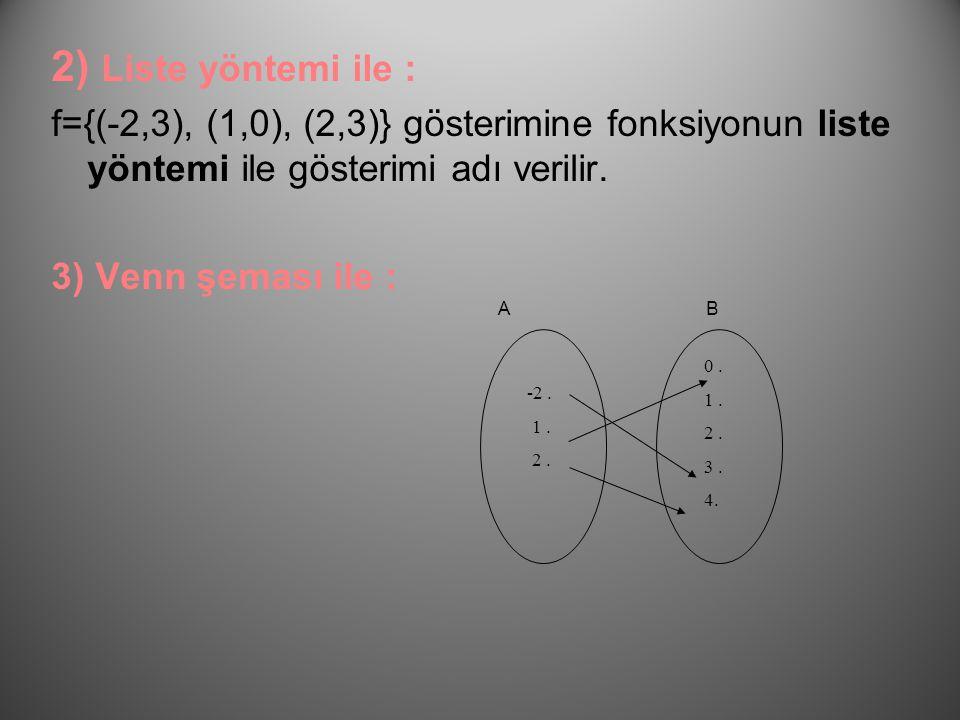 1) Bağıntı ile : A= {-2,1,2} B= {0,1,2,3,4} f(x)= x2-1 bağıntısı, tanım kümesi A ve değer kümesi B olan bir fonksiyondur. Fonksiyonun yukarıdaki gibi