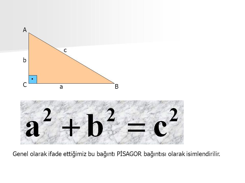 a b c A C B Genel olarak ifade ettiğimiz bu bağıntı PİSAGOR bağıntısı olarak isimlendirilir.