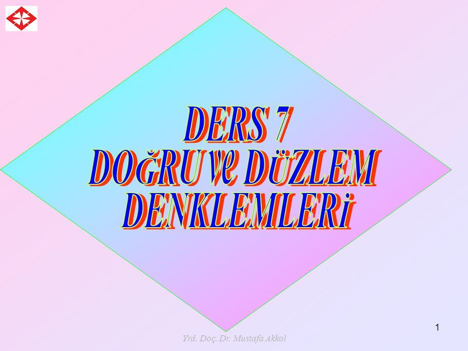 Yrd. Doç. Dr. Mustafa Akkol 82 Veya düzlemin herhangi bir noktası ise